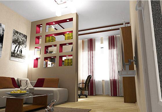 Дизайн перегородок из гипсокартона в спальне