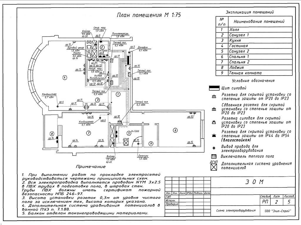План электропроводки в квартире (кликабельно)