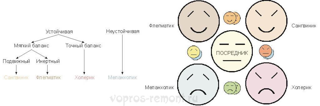 Схемы формирования темпераментов и их взаимодействия между собой