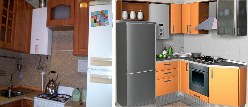 Неправильная (слева) и правильная компоновка кухни