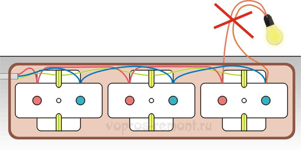 Соединение розеток в модуле