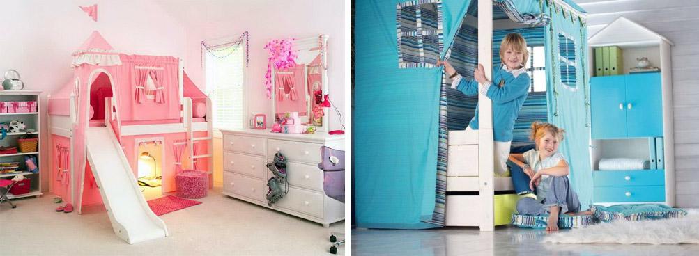 Детские комнаты с домиками для игр. Справа - компромиссный вариант для двоих детей разного пола