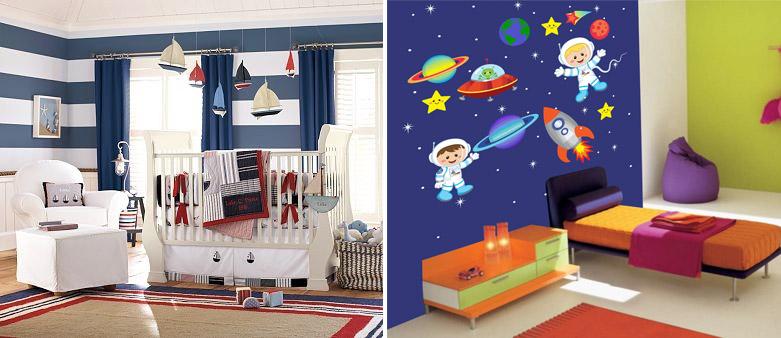 Детская в морском (слева) и космическом (справа) стиле