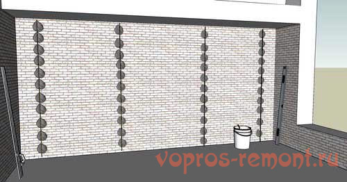 установленные маяки для штукатурки стен