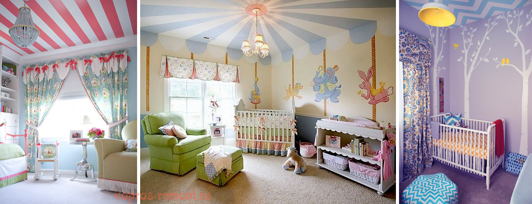 идеи оформления потолка в детской в едином стиле со стенами. В центре - игровая комната-цирк