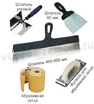 Шпаклевка стен инструмент
