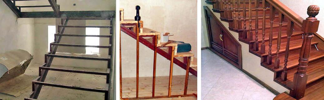 Металлодеревянная лестница
