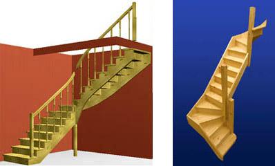 Деревянные лестницы, смоделированные на компьютере