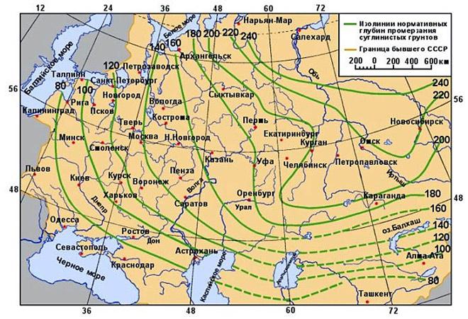 Сезонное промерзание грунта в РФ
