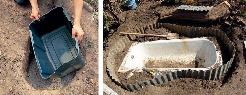Как сделать дренажную яму декоративного бассейна