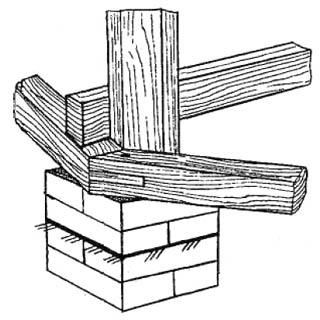 Нижний угол деревянной граненой беседки