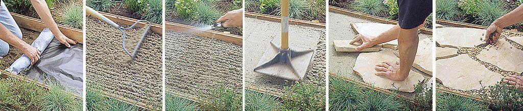 Последовательность прокладки дорожки из природного плитняка