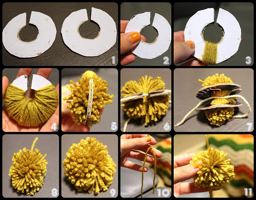 Способ изготовления шара-помпона для елки из ниток