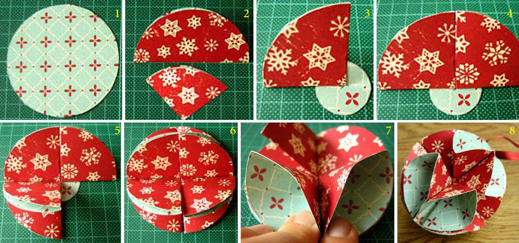 Простейший бумажный шар для елки