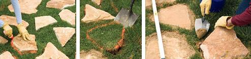 Прокладка каменной дорожки по газону