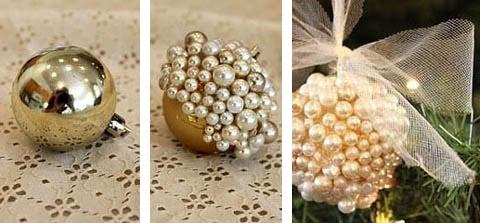 Декорирование елочного шара искусственным жемчугом
