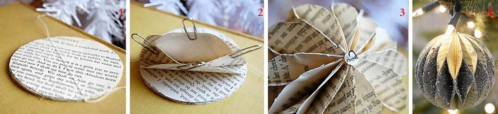 Способ изготовления ажурного елочного шара из бумаги