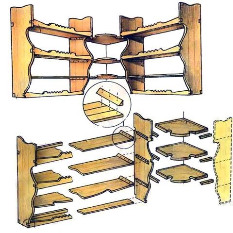 Устройство деревянной угловой полки