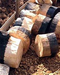 Подготовленные деревянные торцы для дорожки