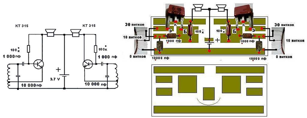 Схема и монтаж металлоискателя