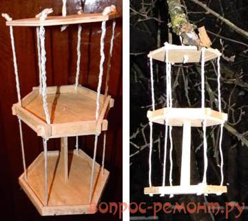 Двухэтажная подвесная кормушка для птиц