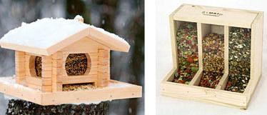 Деревянные кормушки для птиц с хорошей видимостью корма