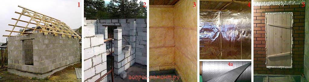 Строительство и утепление бани из пеноблоков