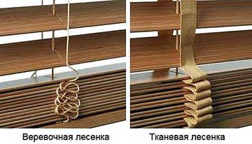 Демпфирующие лесенки на деревянных жалюзи
