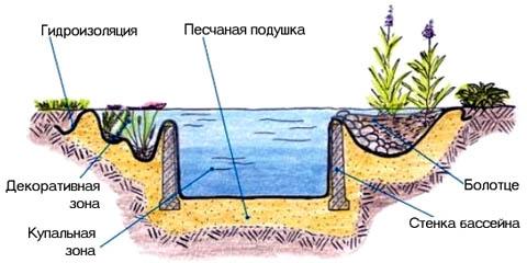 Схема декоративного пруда с купальней