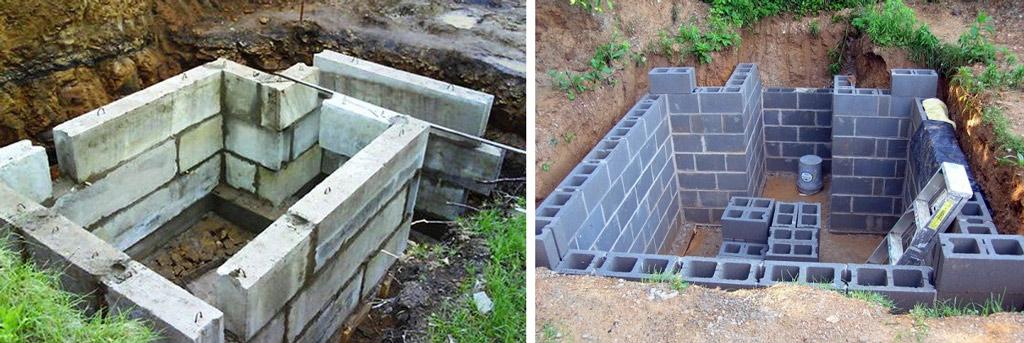 Кладка погреба из блоков