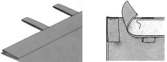 Схемы подшивки петель в полотнищу шторы