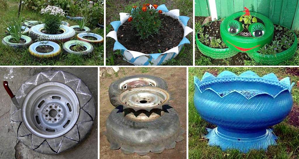 Клумбы и садовый вазон из шин