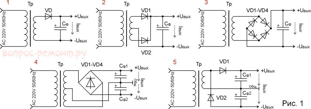 Схемы выпрямителей напряжения переменного тока