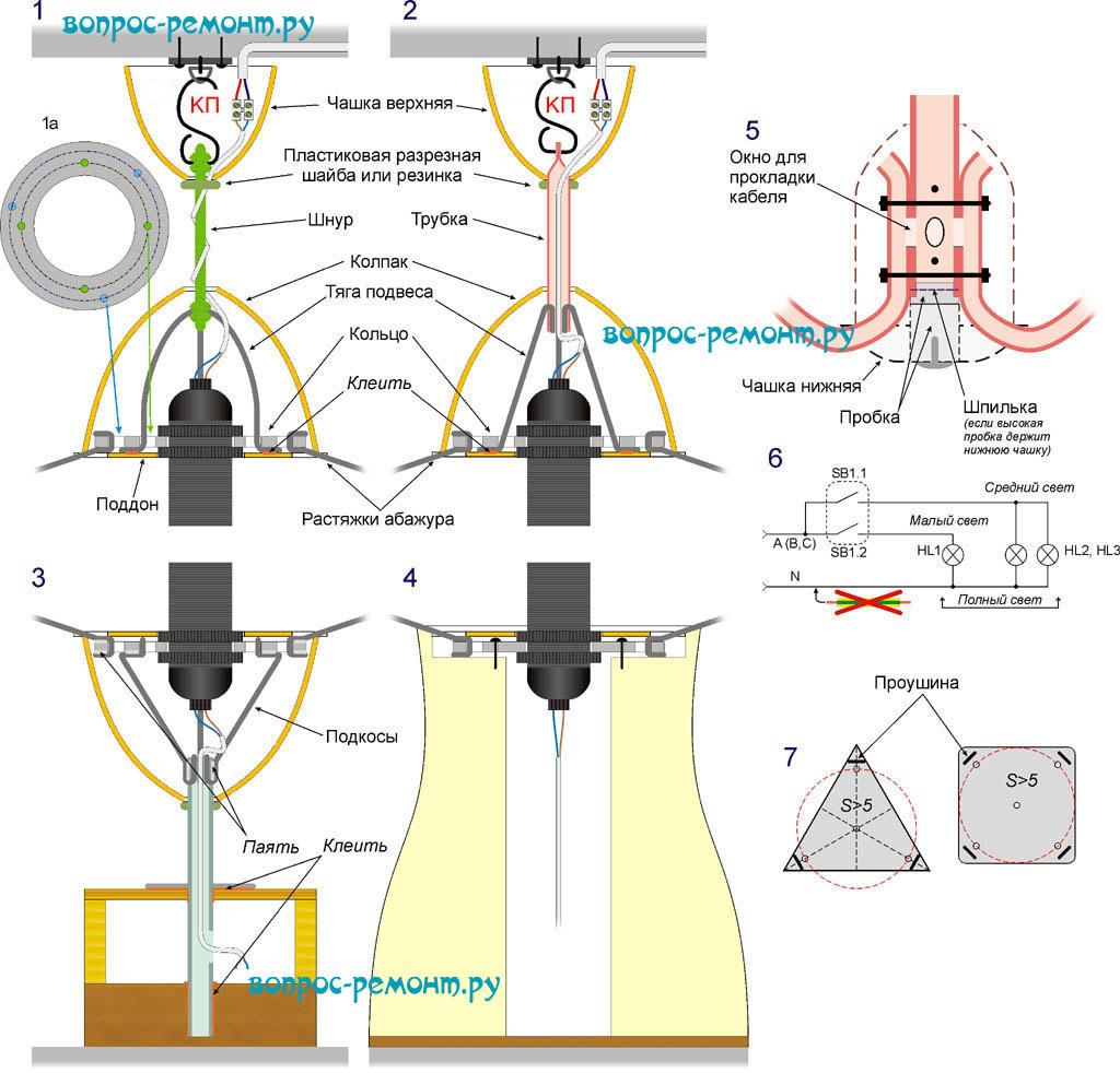 Схемы устройства самодельных светильников