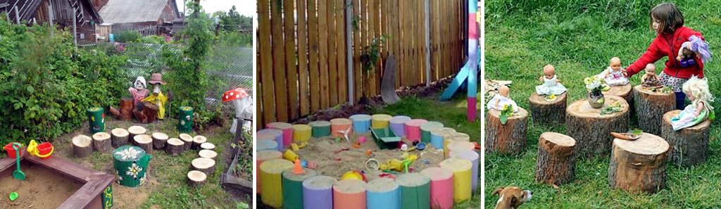 Простые поделки из бревен для детской площадки