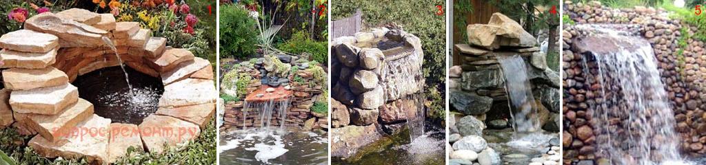 Вид водопада в зависимости от расхода воды