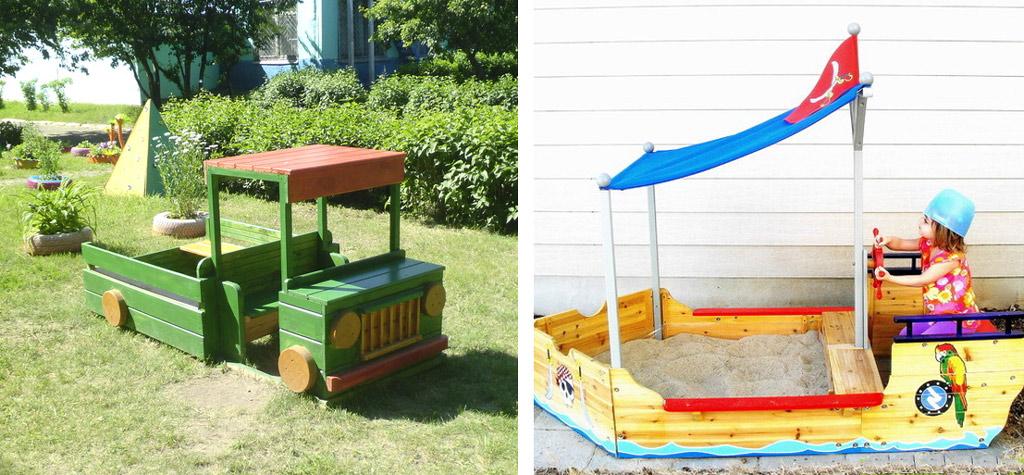 Песочница-машина и песочница-кораблик