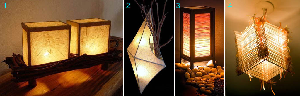Светильники из дерева и бумаги