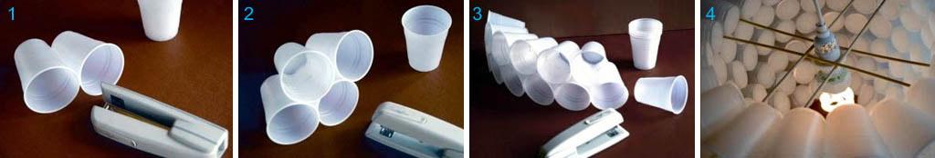 Как сделать абажур из пластиковых стаканов