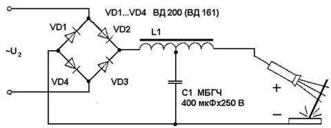 Схема электродуговой сварки постоянным током