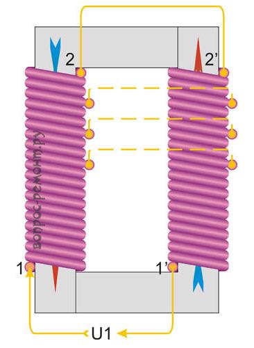 Намотка обмоток трансформатора на стержневом сердечнике
