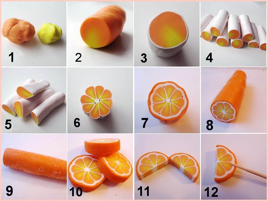 Изготовление имитации ломтиков апельсина из полимерной глины