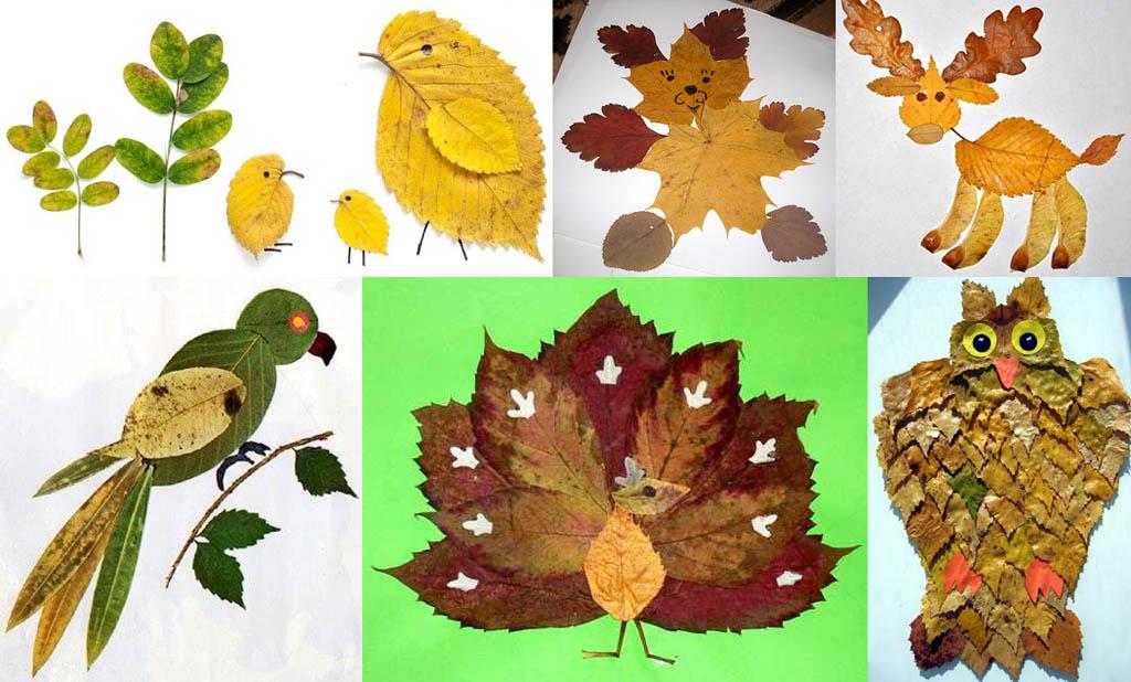 Детские аппликации из листьев
