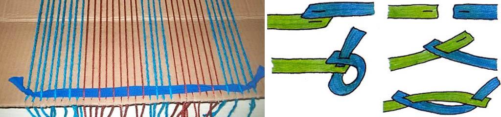 Тканье лоскутного коврика на куске картона и способы соединения лоскутов