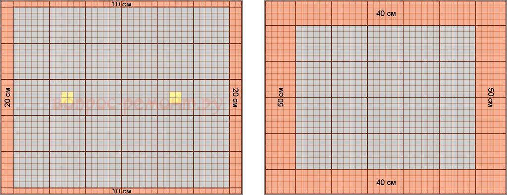 Схемы расположения обрезных решеток в потолках грильято