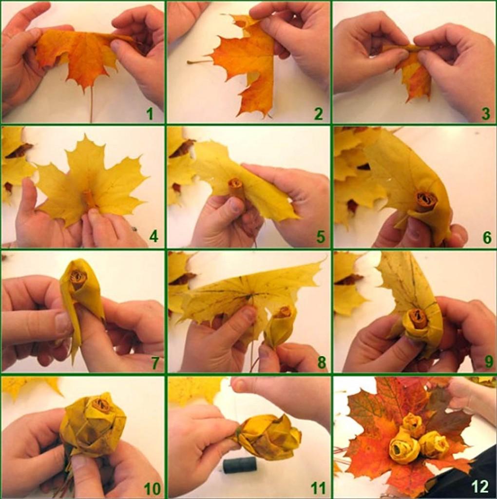 Поделка поэтапно из листьев осенью 3