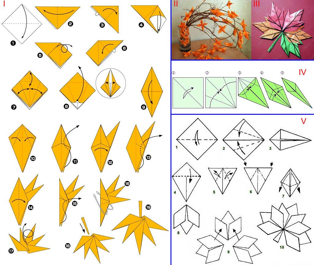 Как сделать листья для осеннего букета - оригами