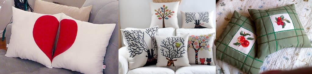 Декорирование подушек аппликацией и печатью по ткани