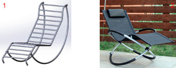 Designs of garden rocking chairs from steel pipes