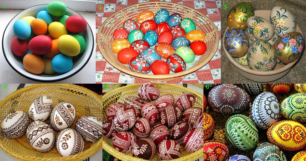 Крашеные и расписные пасхальные яйца